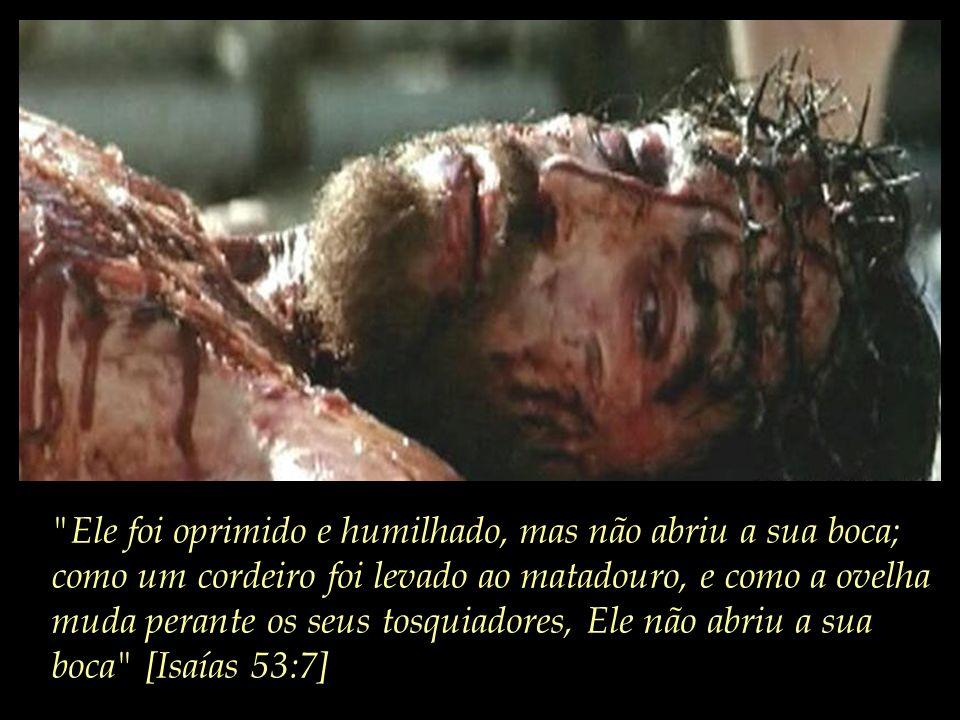 Ele foi oprimido e humilhado, mas não abriu a sua boca; como um cordeiro foi levado ao matadouro, e como a ovelha muda perante os seus tosquiadores, Ele não abriu a sua boca [Isaías 53:7]